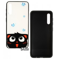 Чехол для Samsung A205F Galaxy A20, A505 Galaxy A50, TOTO, Cartoon Print Glass, Cat-Fish