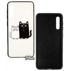 Чехол для Samsung A205F Galaxy A20, A505 Galaxy A50, TOTO, Cartoon Print Glass, Cats, White-Black