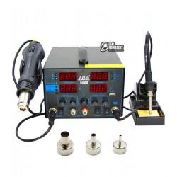 Термовоздушная паяльная станция AIDA 5000 фен, паяльник, блок питания 30V 5A, USB A 5V 2A, цифровая индикация