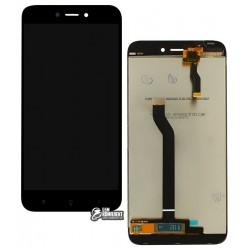 Дисплей Xiaomi Redmi 5A, черный, с сенсорным экраном (дисплейный модуль), оригинал (переклеено стекло)