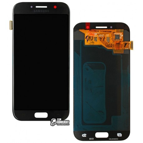 Дисплей для Samsung A520F Galaxy A5 (2017), черный, с сенсорным экраном, original, #GH97-19733A