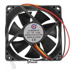 Вентилятор AV-8025M12S 80 x 80 x 25 мм, 12V, 0.2A, 3 провода с функцией FG