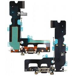 Шлейф для iPhone 7 Plus, конектора навушників, конектора зарядки, чорний, з компонентами