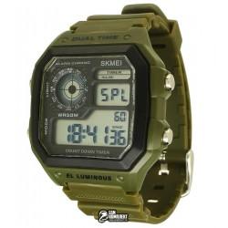 Мужские цифровые кварцевые часы Skmei EL LUMINOUS водонепроницаемые, черные