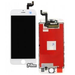 Дисплей iPhone 6S, белый, с сенсорным экраном (дисплейный модуль), с рамкой, High Copy