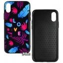 Чехол для iPhone X, iPhone Xs, Tropical Case, стекло-силикон