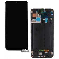 Дисплей для Samsung A505F/DS Galaxy A50, черный, с сенсорным экраном (дисплейный модуль), с рамкой, Original, #GH82-19204A