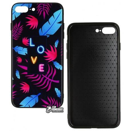 Чехол для iPhone 7 Plus, iPhone 8 Plus, Tropical Case, стекло-силикон