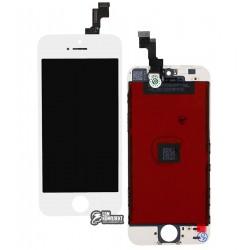 Дисплей iPhone 5S, белый, с сенсорным экраном (дисплейный модуль), с рамкой, High Copy