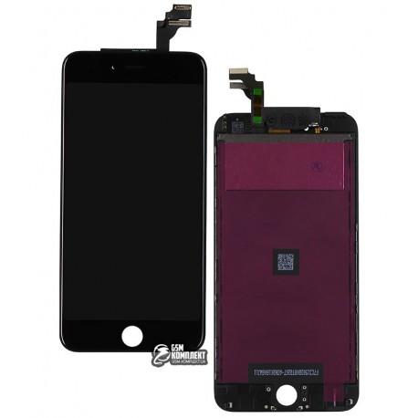 Дисплей iPhone 6 Plus, черный, с сенсорным экраном (дисплейный модуль), с рамкой, high-copy