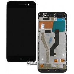 Дисплей для ZTE Blade A520, черный, с передней панелью, с сенсорным экраном (дисплейный модуль)