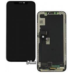Дисплей для Apple iPhone X, черный, со шлейфом, с сенсорным экраном (дисплейный модуль), с рамкой, (OLED), Сopy, BOE