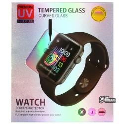 Закаленное защитное стекло для Apple Watch 40mm, 3D, прозрачное с лампой и UV клеем