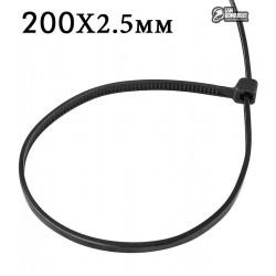 Стяжка кабельная 200х2.5 мм черная 100шт