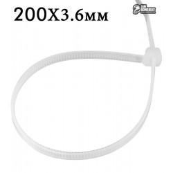 Стяжки кабельные 200х3,6мм белая 100шт