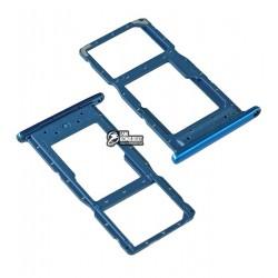Держатель SIM-карты для Huawei P Smart (2019), голубой, c держателем MMC, aurora blue