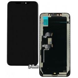Дисплей iPhone XS Max, черный, с сенсорным экраном (дисплейный модуль), с рамкой, (TFT), Сopy, Tianma