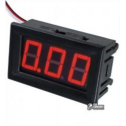 Вольтметр цифровой 0-100V встраиваемый, три провода, красный