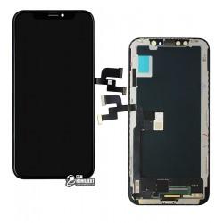 Дисплей iPhone X, черный, с сенсорным экраном (дисплейный модуль), с рамкой, (OLED), High Copy