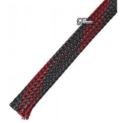Защитная оплетка для проводов полиэфирная 12мм WPET, черно-красная