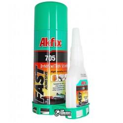 Akfix 705, гелиевый клей с активатором(100г + 400г)