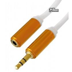 Кабель удлинитель звуковой, 3.5 мм стерео папа/3.5мм стерео мама (AUX), белый, штекер метал, 1,5 м