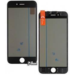 Стекло корпуса для Apple iPhone 6S, с рамкой, с поляризационной пленкой, с OCA-пленкой, черное