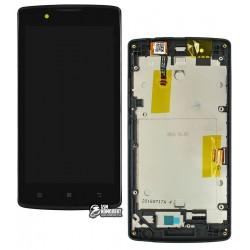 Дисплей для Lenovo A2010, черный, с сенсорным экраном (дисплейный модуль), с передней панелью