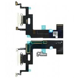 Шлейф для Apple iPhone XR, коннектора зарядки, белый, с микрофоном