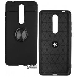 Чехол для Nokia 3.1 Plus Dual SIM, TOTO, Car Magnetic Ring, TPU Case, Black- Black