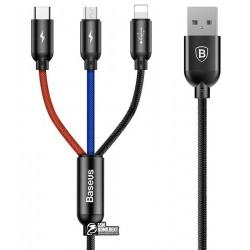 Кабель 3в1, Lightning+Micro+Type-C - USB, Baseus Three Primary Colors, 3.5A, 0.3м