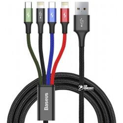 Кабель 4в1, Lightning(2)+Micro+Type-C - USB, Baseus Fast, 1,2м, тканевый