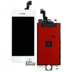 Дисплей для iPhone 5S, iPhone SE, белый, с сенсорным экраном (дисплейный модуль), с рамкой, AAA, Tianma+