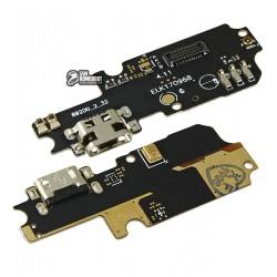 Шлейф для Asus Zenfone 3 Max (ZC553KL), коннектора зарядки, с компонентами, плата зарядки