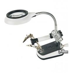 Держатель для плат с линзой MG16075-8L, с подсветкой (220V), 2,5x d75мм, 5x d20мм, подставка для пальника