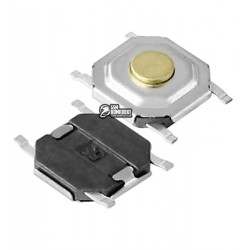 Кнопка тактовая SMD, 4 x 4 x 1,5 мм, 4pin, 50mA, 12VDC
