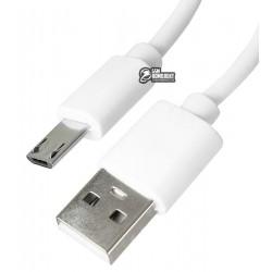 Кабель Micro-USB - USB, Mussels, длинный штекер (11мм), 2.4 A, 1 метр, белый