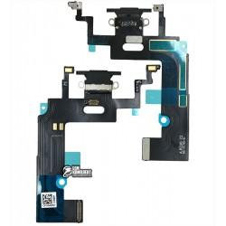 Шлейф iPhone XR, коннектора зарядки, черный, с микрофоном, High Copy