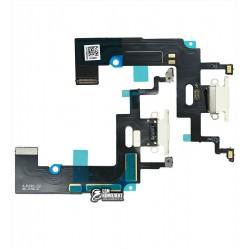 Шлейф iPhone XR, коннектора зарядки, белый, с микрофоном, High Copy