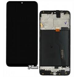 Дисплей для Samsung A105F/DS Galaxy A10, черный, с сенсорным экраном (дисплейный модуль), с рамкой, оригинал (переклеено стекло)
