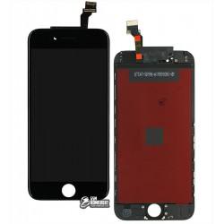 Дисплей для iPhone 6, черный, с сенсорным экраном (дисплейный модуль), с рамкой, AAA, Tianma+