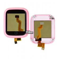 Тачскрин для детских часов DS28, в рамке, с разборки, розовый (треснуты крепления под болты)