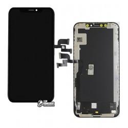Дисплей для iPhone XS, черный, с сенсорным экраном (дисплейный модуль), с рамкой, (OLED), AAA, GXS OEM hard