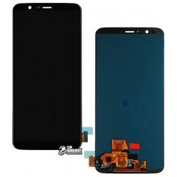 Дисплей для OnePlus 5T A5010, черный, с сенсорным экраном (дисплейный модуль), оригинал (переклеено стекло)
