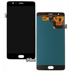 Дисплей для OnePlus 3 A3003, черный, с сенсорным экраном (дисплейный модуль), оригинал (переклеено стекло)