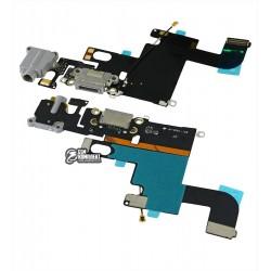 Шлейф для iPhone 6, коннектора наушников, коннектора зарядки, черный, с микрофоном, с компонентами, AAA