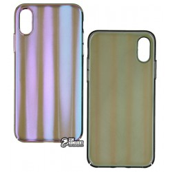 Чехол для iPhone XS, Baseus Aurora case, стекло-силикон, синий