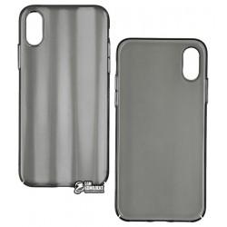 Чехол для iPhone XS, Baseus Aurora case, стекло-силикон, черный