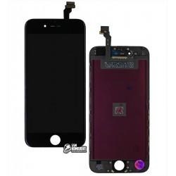 Дисплей iPhone 6, черный, с сенсорным экраном, с рамкой, AAA, Tianma, с пластиками камеры и датчика приближения