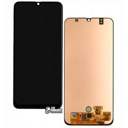 Дисплей для Samsung A505 Galaxy A50, черный, с сенсорным экраном, оригинал (переклеено стекло)